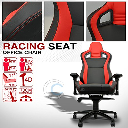 Velocity Concepts UNIVERSAL BLACK/RED STITCHES PVC LEATHER MU RACING BUCKET SEAT OFFICE CHAIR C01 (900 Series Quantum Chair compare prices)