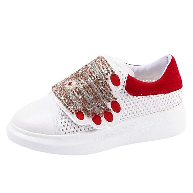 Longra ❤ ❤ Calzado Deportivo Casual para Mujer Costura Botines con Diamantes de imitación Zapatillas Planas para Estudiantes: Amazon.es: Ropa y ...