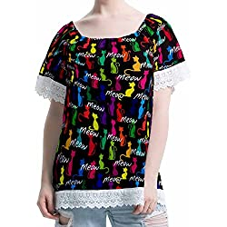 Cat Women's Off-Shoulder Top Lace Casual Loose Tops Blouse