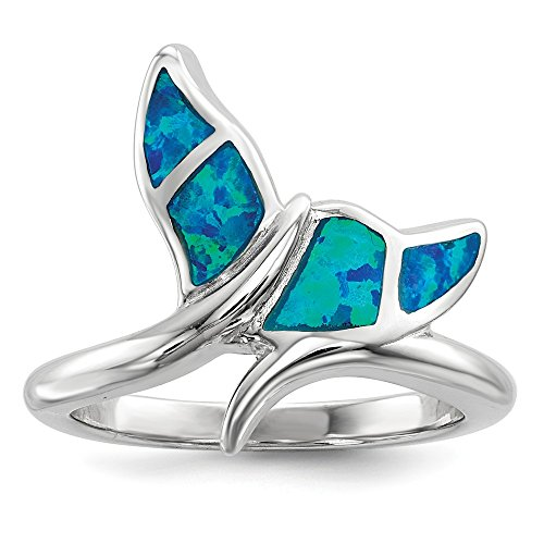 925 Sterling Silver Blue Inlay Created Opal Whale Tail Band Ring Size 7.00 Sea Shell Life Fine Jewelry Gifts For Women For Her