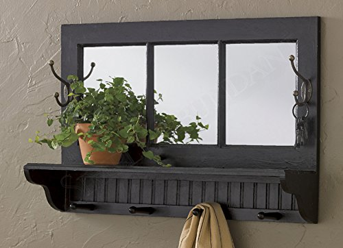 Versatile and Functional Black Southport Mirror Shelf with Hooks, 24x16 Inch by Park Designs
