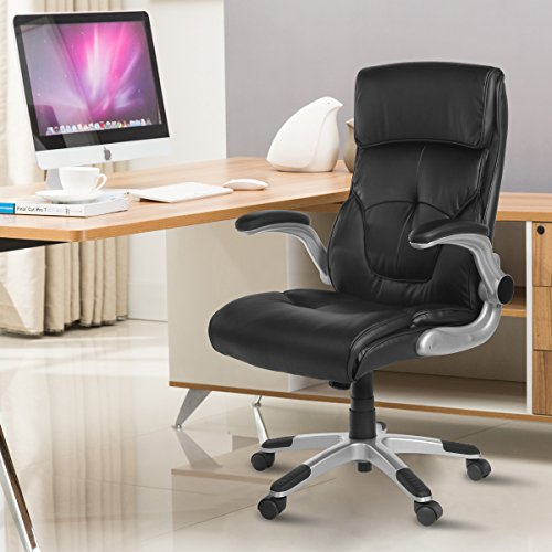 YAMASORO Ergonomic Executive Leather Office Chair High Back with Flip-Up Arms,Thick Headrest and Lumbar Support Black (Black Ultimate Swivel Chair)