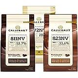 Callebaut, latte, fondente e scaglie di cioccolato bianco (3 x 1 kg Bundle)