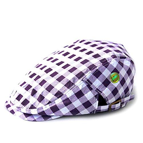 [LOCOMO Checker Check Plaid Tartan Newsboy Flat Cap Hat FFH318PUR] (Purple Hats For Sale)