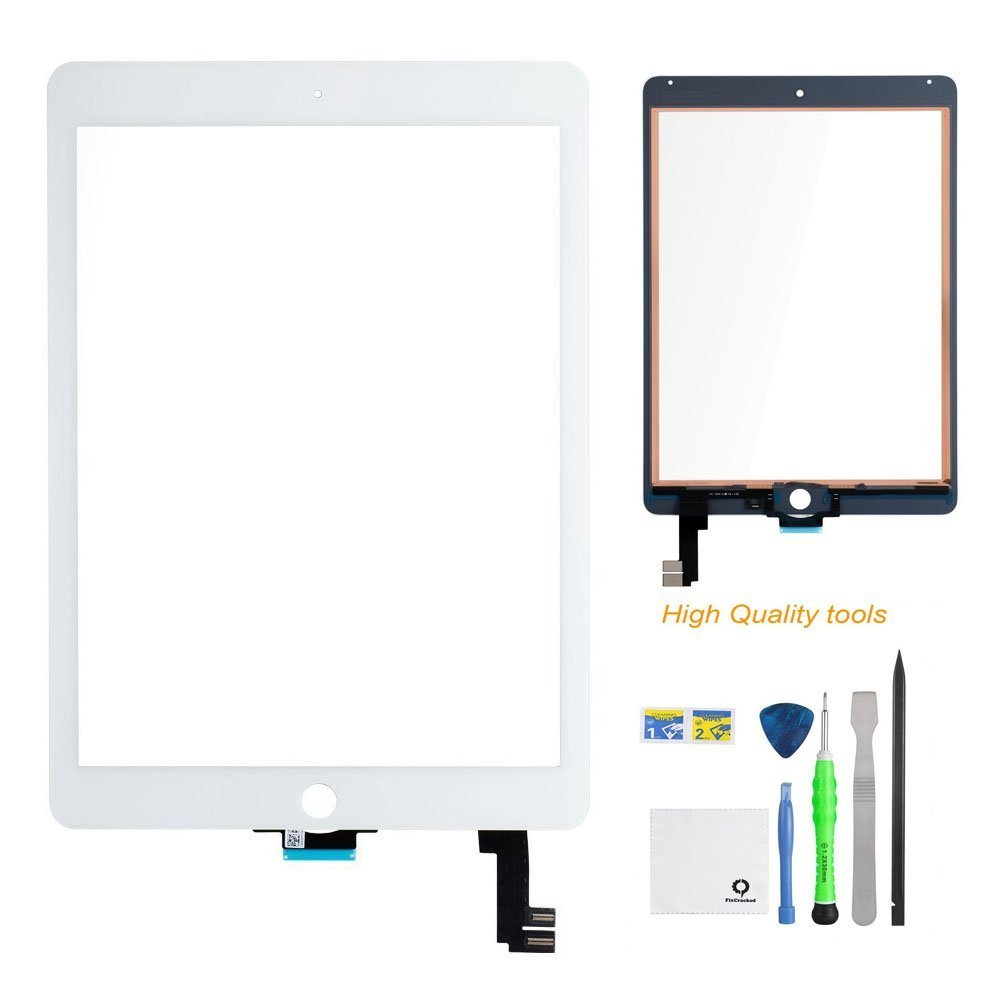 iPad Air 2 Screen Replacement,FixCracked iPad air 2 Digitizer Glass,Only for Professional Person,Not Include LCD, PreInstalled Adhesive with tools kit(A1566,A1567)-White