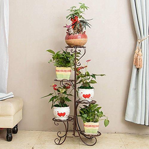 European wrought iron Flower shelf, Multi-layer Floor Balcony Flower pot rack Living room interior Ladder Green dill Flower shelf Disc 5 (Multi Tiered Base)
