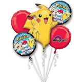 (US) Pokemon Pikachu and Friends Birthday 5 Mylar Balloons Bouquet ~ Party Supplies