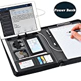 WB.Multifunctional Professional Business PU Leather Portfolio Padfolio Document Case Orgainzer,With 5000mAh li-Polymer Battery, Emergency Power Bank File Folder,Suit For Business Use (Black)