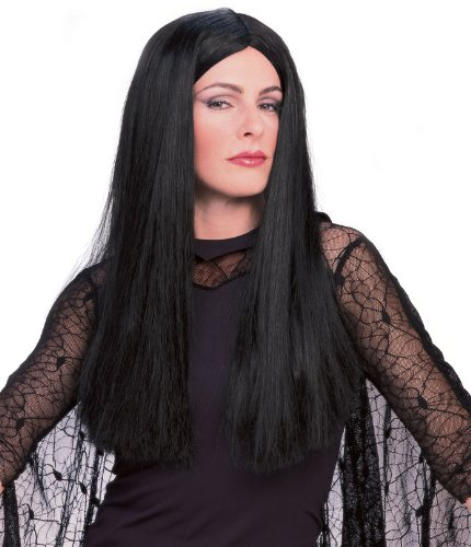 Addams Costumes Morticia Family (Rubie's Costume The Addams Family Deluxe Morticia Wig, Black, One)