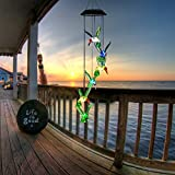 LED Solar Mobile Wind Chime,Toptik Waterproof Color-Changing Six Hummingbird Wind Chimes For Home Party Night Garden Decoration