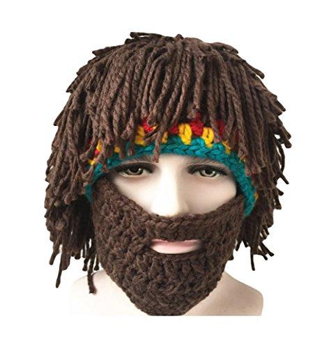 Dosige Peluca Barba Falsa Coleta Gorro de lana Divertido Sombrero hecho punto Marrón oscuro: Amazon.es: Hogar