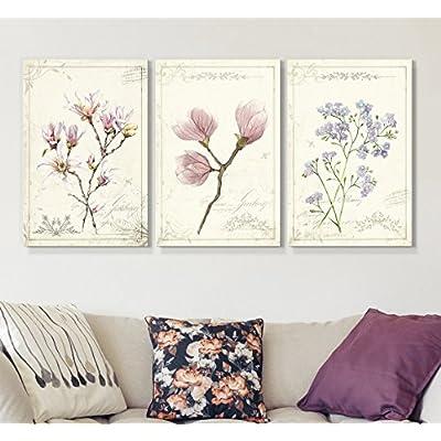 3 Panel Vintage Style Purple Flowers x 3 Panels, Premium Product, Handsome Print