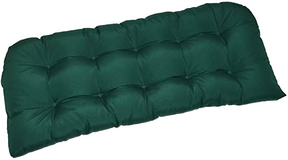 Resort Spa Home Decor Indoor Outdoor Cushion for Wicker Loveseat Settee – Solid Hunter Green