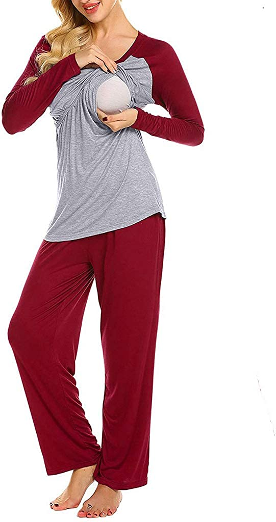 VICENT Donna maternit/à Premaman Allattamento Pigiama Notte Set Manica Lung Top Pantaloni S-XXL Ospedale