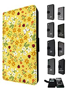 960 - cool cute fun shabby chic butterfuy ladybirds Design Sony Xperia Z1 Fashion Trend TPU Leather Flip Case Full Case Flip Credit Card TPU Leather Purse Pouch Defender Stand Cover