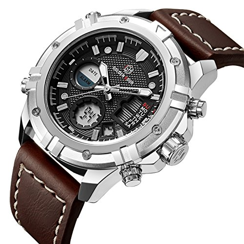 Tamlee Mens Sport Watch Digital Analog Waterproof Multifunctional Military Brown Leather Wrist (Mens El Analog Sport Watchs)