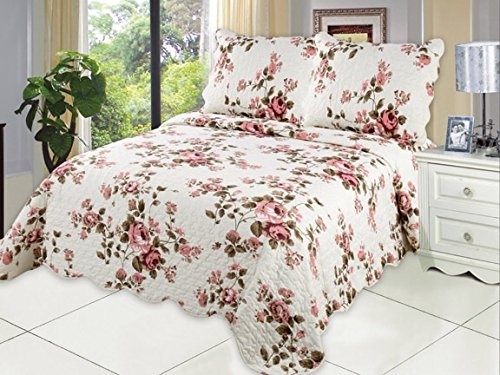 Microfiber Quilt set,prewashed, preshrunk. Hypoallerginic, Pattern Stitched with Real Threads, machine quilting , Ultra soft . F/Q bed-cover 86