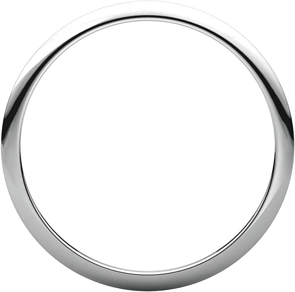 14K White Gold 1mm Half Round Band