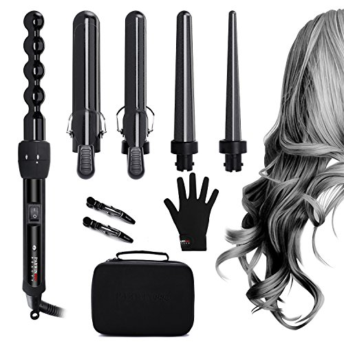 PARWIN BEAUTY Curling Wand 5 in 1 Professional Curling Iron Set 0.3 to 1.25 Inch Interchangeable Ceramic Barrels Hair Curling Iron Wand - Hair Curler for All Hair Types with Glove and Travel Case