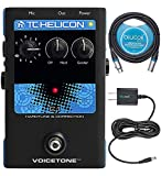 TC Helicon VoiceTone H1 Vocal Effects Pedal Bundle with Blucoil Power Supply Slim AC/DC Adapter 12V DC 1000mA with US Plug and Blucoil Audio 10-Ft Balanced XLR Cable