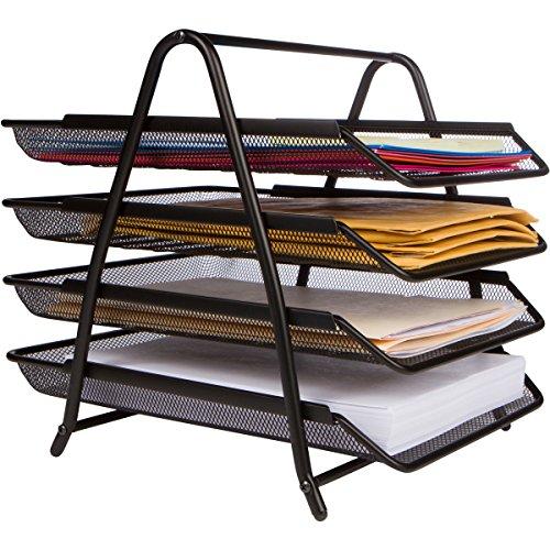 4-Letter Tray Office Desk Organizer, Black ()