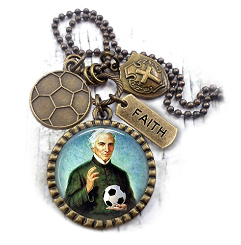 Patron Saint of Soccer Players, St. Luigi Scrosoppi Necklace, Catholic Jewelry, Confirmation Boys Teens Men (Saints Player)
