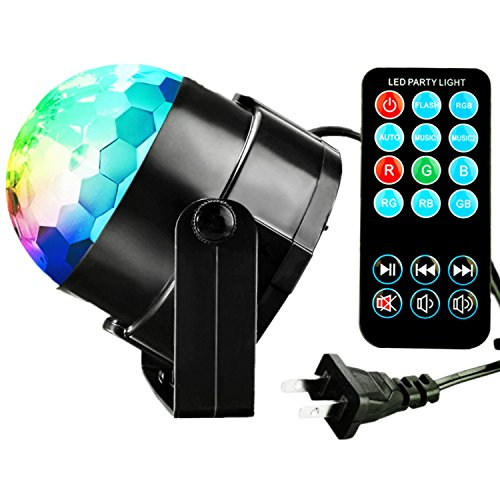 Led Party Lights - TTF 3W led Disco Ball Lights Sound Activated Storbe Dance Light/DJ Stage Lighting,7 Colors Light Ball Dance Lightshow  for Birthday, Kids Bedroom, Party Decoration