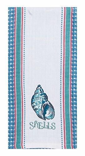 Kay Dee Designs Beach House Inspirations Shells Embroidered Waffle Tea Towel