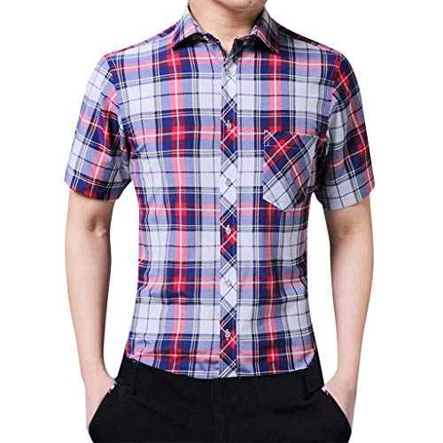Outique Men's Work Shirt,Summer Loose Casual Daily Short Sleeve Plaid Button Down Shirt Casual Blouse Red
