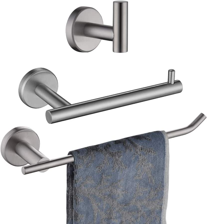 JQK Bath Hardware Towel Bar Accessory Set, 3-Piece Bathroom Accessory Set Brushed Finished Wall Mount Includes 9 in Hand Towel Bar, Toilet Paper Holder, Robe Hook, BAS103-BN: Home & Kitchen