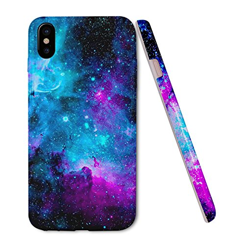ZUSLAB Galaxy Nebula Pattern for Apple iPhone XS Case (2018) / iPhone X Case (2017) Slim Shockproof Flexible TPU, Soft Rubber Silicone Skin Cover - Purple Nebula