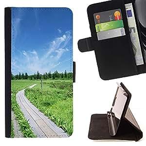 For Samsung Galaxy S5 V SM-G900 Case , Naturaleza Hermosa Forrest Verde 50- la tarjeta de Crédito Slots PU Funda de cuero Monedero caso cubierta de piel