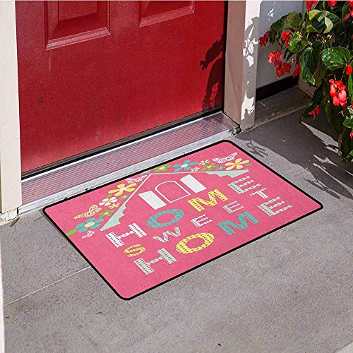 Gloria Johnson Home Sweet Home Inlet Outdoor Door mat Abstract Roof and Window Surrounded by Colorful Flowers and Butterflies Catch dust Snow and mud W29.5 x L39.4 Inch Multicolor