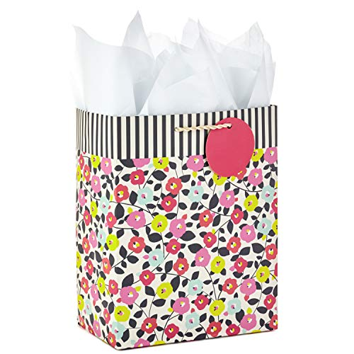 Hallmark Medium Gift Bag with Tissue Paper for Birthdays, Mother's Day, Baby Showers, Bridal Showers, Weddings or Any Occasion (Flowers and Stripes) (Baby Girl Gift Bag)