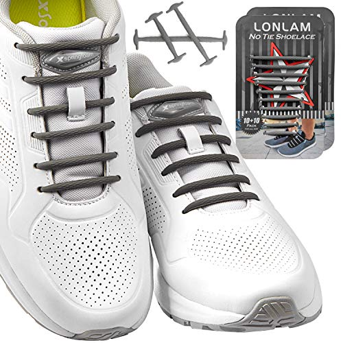 LONLAM [Upgrade] No Tie Shoelaces (Round Stretch Strings) Silicone Elastic Bungee Rubber Laceless Lazy Tieless Shoe Laces for Adults Kids Toddlers, Sneakers Athletic Running Boot Dress Shoes (Gray)
