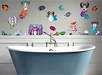 Mermaid Wall Decals / Mermaid Wall Stickers Complete With Shells, Fish And  Castle Wall Decals
