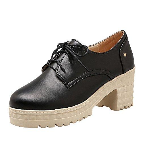 Mee Shoes Damen süß chunky heels Plateau Schnürhalbschuhe Schwarz