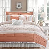 9pc Soft Coral Green Paisley Comforter King Set, Pink White Shabby Chic Adult Bedding Master Bedroom Modern Stylish Pintuck Ruffled Pattern Ruched Elegant Themed Traditional, Cotton