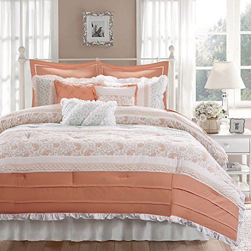 9pc Soft Coral Green Paisley Comforter King Set, Pink White Shabby Chic Adult Bedding Master Bedroom Modern Stylish Pintuck Ruffled Pattern Ruched Elegant Themed Traditional, Cotton by U.A.A. INC.