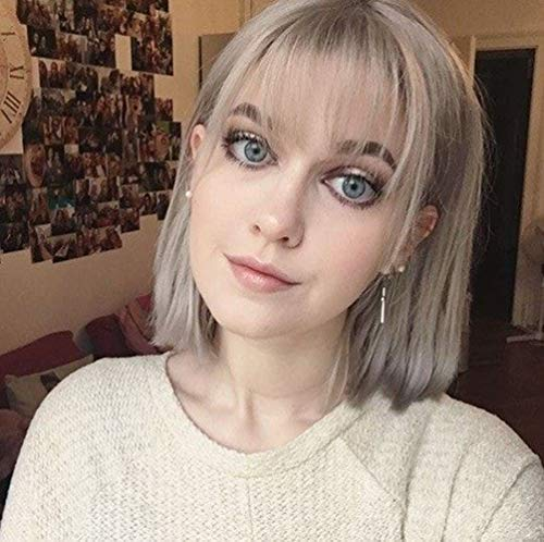STfantasy Short Bob Hair Wigs Straight with Flat Bangs Synthetic Colorful Cosplay Daily Party Wig for Women Natural with Free Wig Cap(Silver Gray) -