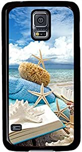 Summer Beach Book Seashells Sea Stars Samsung Galaxy S5 Case Pattern Monogram Durable Protective Case for Black Cover Skin - Compatible With Samsung Galaxy S5 SV i9600