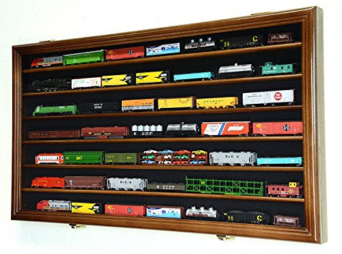 N Scale Train Model Trains Display Case Cabinet Wall Rack w 98 UV Lockable -Walnut