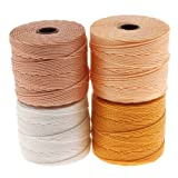superlon cord - BeadSmith Super-Lon Cord - Honey Butter Mix - Four 77 Yard Spools / Size 18 Cord