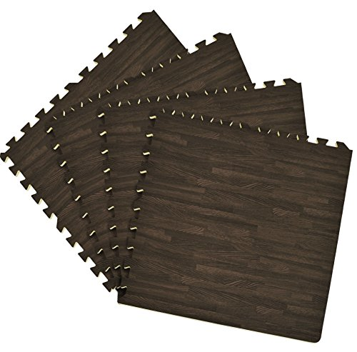 Algodon Double Border (Ben&Jonah Collection Interlocking Foam 24x24 Anti Fatigue Floor Tiles 4 tiles/16 Sq. Ft. - Charcoal)