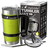 MalloMe Stainless Steel Vacuum Insulated 6-Piece Tumbler Set, Lemongrass Green 20 oz