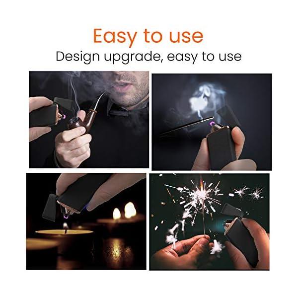 Ommani Encendedor Electrico, USB Encendedor de Doble Arco Recargable con Indicación de Batería, ARC Encendedor… 5