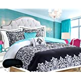 Teen Girls Bedding Damask Comforter SUPER SET Black and White Aqua Teal Twin / Twin XL TXL + Sham + 2 GORGEOUS Toss Pillows & Home Style Brand Sleep Mask 5 Pc. Set Comforters Sets for Girl Kids Dorm