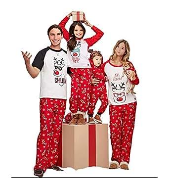 Multitrust Family Matching Christmas Pajamas Set Deer Tops and Long Pants Sleepwear for Family (S, Men)