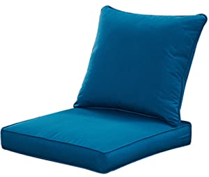QILLOWAY Outdoor/Indoor Deep Seat Chair Cushions Set,Replacement Cushion for Patio Furniture,Peacock Blue