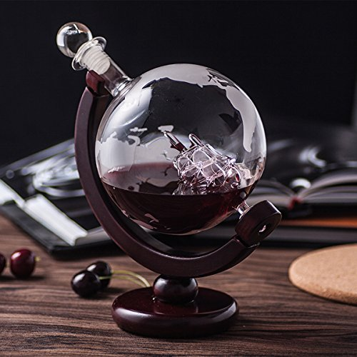 ZARIFINTERNATIONAL 850ml Global Wine Whiskey Decanter with Antique Ship inside and Wooden Stand by ZARIFINTERNATIONAL (Image #4)